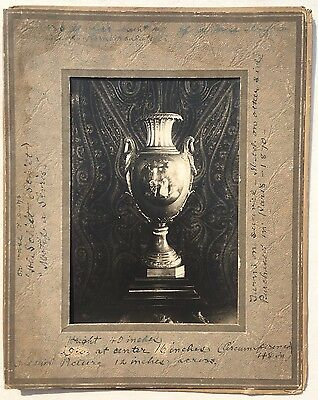 Silver URN Courting Scene Painting PORCELAIN INLAY Original Antique PHOTOGRAPH