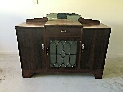 Vintage Art Deco Timber Crystal Cabinet Sideboard