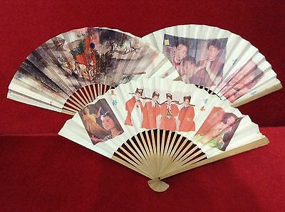 "Lot 3x Old Rare Art China Hand Fans paper 11"" photo Print Free Shipping"