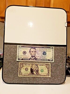"Combination Whiteboard & Bulletin Board 18"" x 22"" Framed customized funny money"