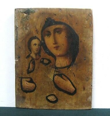 Antique Icon Mother of God Orthodox Russian Wood 248 x 193 mm
