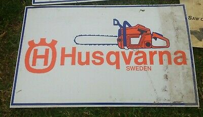 Old husqvarna Sweden mower shop chain saw chainsaw corflute sign garage mancave