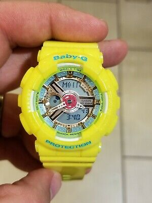 Casio GShock Baby G BA110CA-9A Yellow with Rose Gold Dial