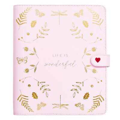 Kikki K Large Leather Planner Pink - Life is Wonderful 2018