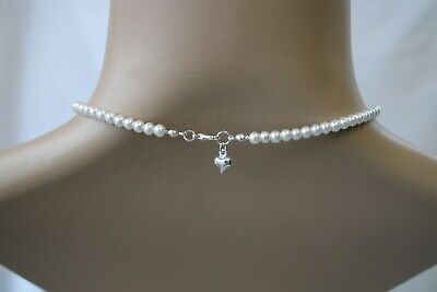 Dainty Simple Pearl Necklace for Women Flower girls with tiny heart charm 10FH
