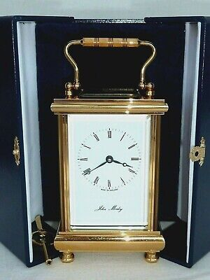 Superb John Morley 8 Day Gold Plated Carriage Mantel Mantle Clock + Display Case