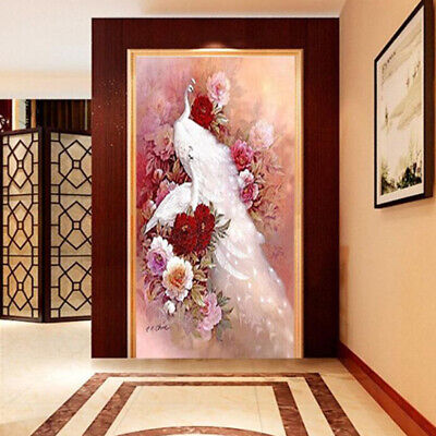 New  Animals Diamond Painting White Peacock 3D Cross Stitch Decor Embroidery LH