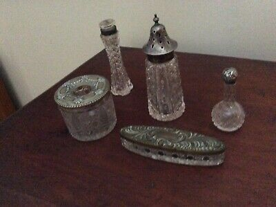 Antique glass dressing table containers