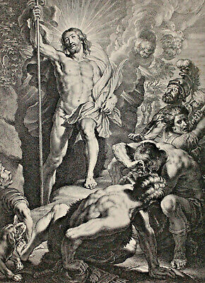 A Fine c19th Engraving, British Museum 1898, Resurrection, Bolswert, per Rubens