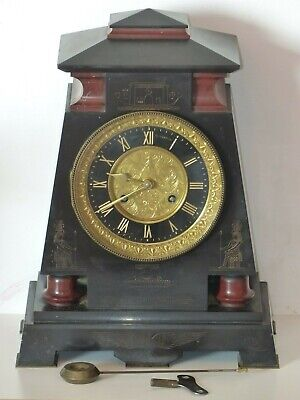 RARE Antique Victorian Slate /Marble Clock Egyptian -Connell 83 Cheapside London