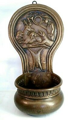 Antique Arts & Crafts Style Hand Hammered Wall Planter Etched Hunting Scene