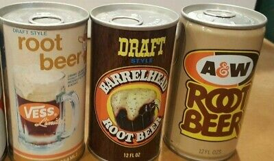 Barrelhead A&W Vess Root Beer Vintage Steel Cans Pull Tab Air filled