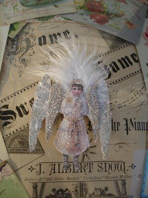 SNOW ANGELS*FOUR*THINK FIR OR FEATHER*CARD INSERT*GIFT TAG*GORGEOUS*vICTORIAN