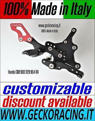 Adjustable Rearsets for Honda CBR 900 929 954 RR 100% Made in Italy GeckoRacing