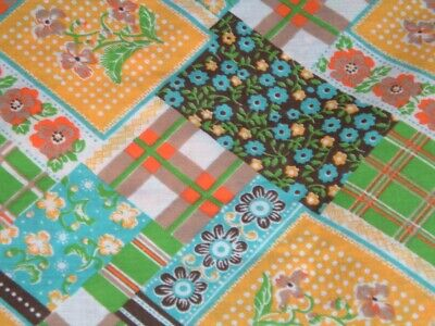 Vtg 70s Retro Hippie Calico Plaid Lime Teal Quilt Cheater Fabric 2Yds x 43#ff444