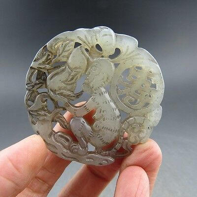 Chinese , jade,noble collection, manual sculpture, jade, monkey,pendant Q076