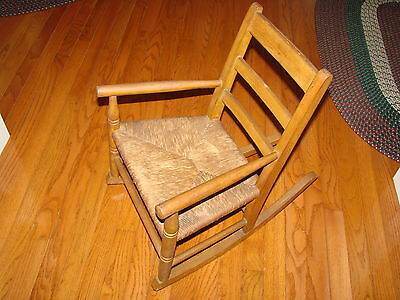 CHILD'S RUSH Bottom SEAT Vintage ROCKING CHAIR Rocker Old With Great Patina