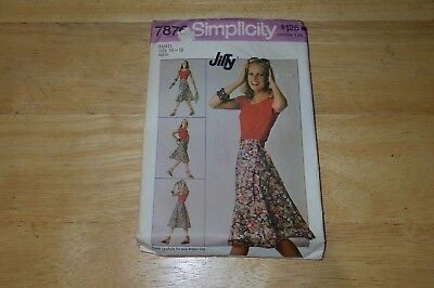 Vtg 1977 Simplicity 7876 Sewing Pattern Misses Front Wrap Skirt Size Small 10-12