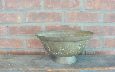 """Vintage Chinese Solid Brass Etched Bowl, 5"""" x 10"""""""