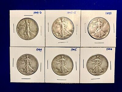 Set Of SIX (6) LIBERTY WALKING HALF DOLLARS 1941-1946 90% Silver FREE SHIPPING