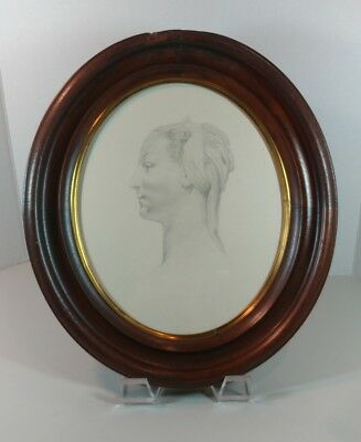 Nice Antique Walnut Deep Oval Picture Frame/ Victorian Drawing Figural Portrait