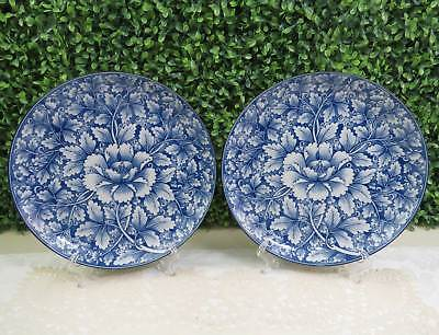 """Set of 2 Gorgeous Blue Floral China 8-1/2"""" Plates, Japan, Decorative or For Use"""