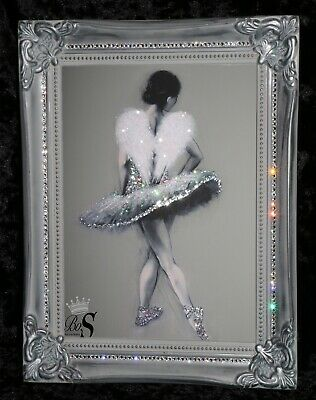 Hazel Bowman Ballerina Glitter Canvas Picture. Print ONLY or with Frame.