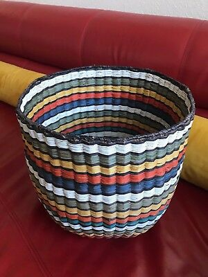 "Hopi 3Rd Mesa Wicker  Basket ( Peach Basket) Multi Colored Design 12"" X 12"" Tall"