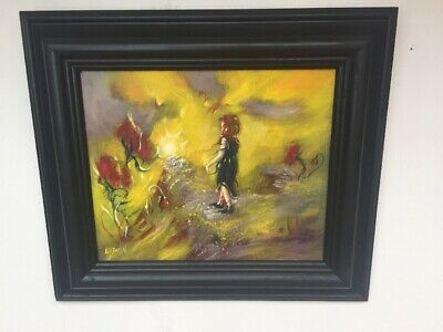Stunning Impressionist Oil Painting Young Walking in Poppy Field, Signed Framed