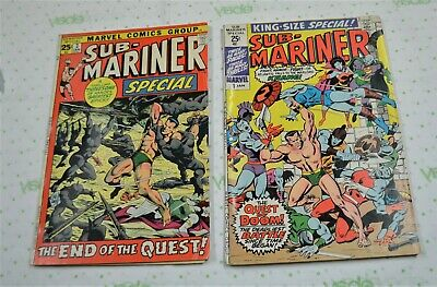Marvel Sub-Mariner #1 King Size 1971 & Special #2 1972 Silver (Missing 4 Pages)