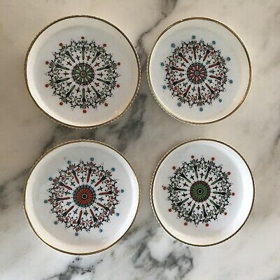 Set of 4 Perfect Vintage ROYAL WORCESTER Medallion COASTERS Hand Painted