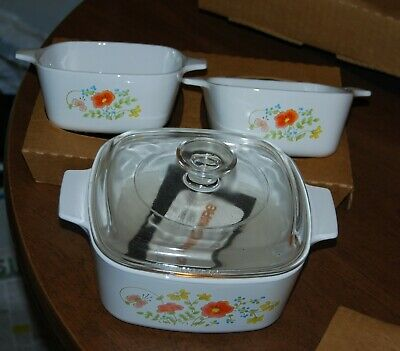 Corning Ware WILDFLOWER A-9376-7 - 1.5 qt covered saucepan, 2 petite pans NEW