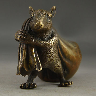 Chinese Brass Old Handwork Hammered Mice & Gold Vivid Statue Decor Collectable