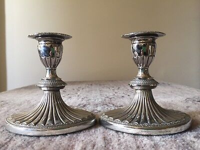 VINTAGE SILVERWARE Two, A Pair of Falstaff Candle Sticks Stamped Silver Plated.