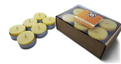 48 Natural Honey Scented Beeswax Tea Light Candles, Cotton Wick, Aluminum Cup