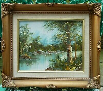 Vintage Original Oil Painting In Gold Gilt Ornate Frame Signed By Artist Picture