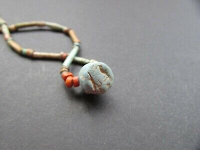 NILE  Ancient Egyptian Seal Amulet Mummy Bead Necklace ca 600 BC