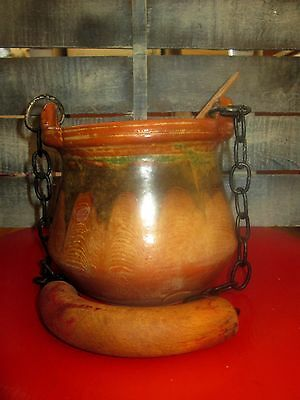 ANTIQUE CLAY POT EARLY 20s STAMPED HAND MADE POTTERY JAR WITH A HANDLE