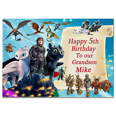 b471; Great Personalised Birthday card *Any name age text* How to Train Dragon 3