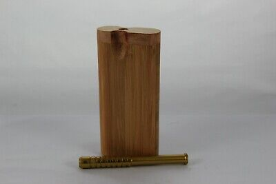 "4"" Fossilized Bamboo Wood Dugout One Hitter Twist Top With Gold Aluminum Bat"