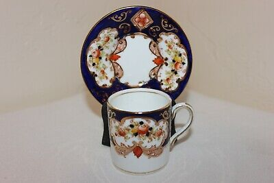 Vintage Royal Albert Crown China Demitasse Cup & Saucer, Blue & Gold, Flowers