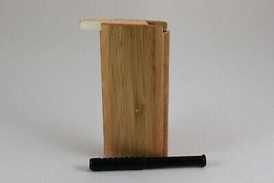"4"" Fossilized Bamboo Wood Dugout One Hitter Slide Top With Black Aluminum Bat"