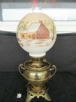 Antique Beautiful Log Cabin Globe Fenton ?) w/ Bradley Hubbard Urn Oil Lamp Base