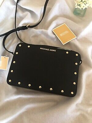 8ac44a221653 MICHAEL Michael Kors Sandrine Stud Large Saffiano Leather Crossbody Black  Gold