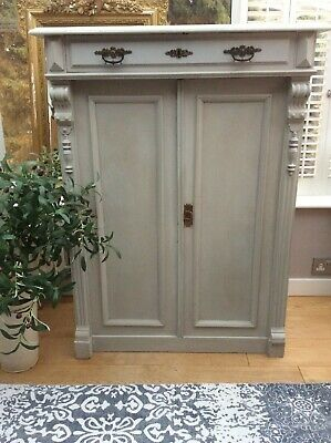 Antique French Solid Pine Dresser Cupboard Cabinet Armoire painted