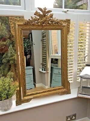 Antique French 19th Century Gilt Gesso Crested Mirror