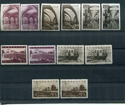 Russia Yr 1938,sc 687-92,mi 646-51,mlh,moscow Subway Stations,grey Paper Variety