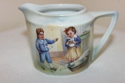 Beautiful Antique Hand Painted Small Porcelain Cream Pitcher, German