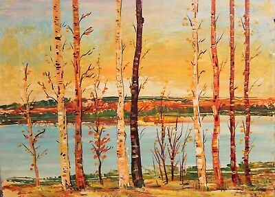 Vintage European oil painting birch trees landscape