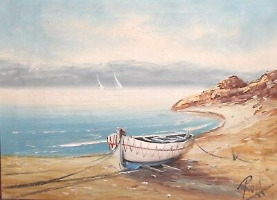 Vintage seascape boat landscape oil painting signed
